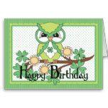 happy birthday irish | Irish Owl Happy Birthday Greeting Card