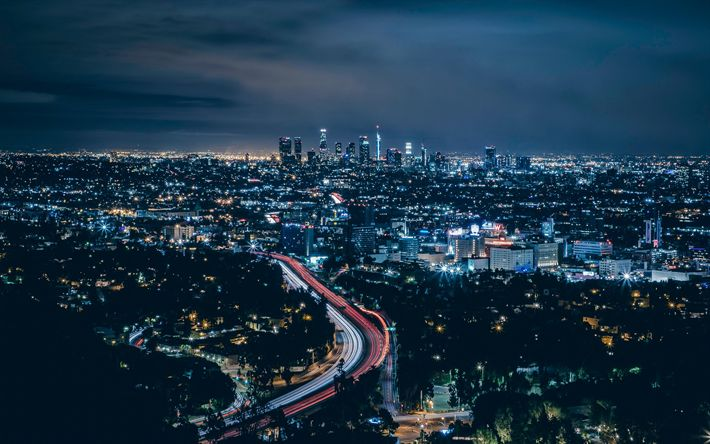 Download wallpapers Los Angeles, 4k, USA, nightscapes, roads, buildings, America, LA