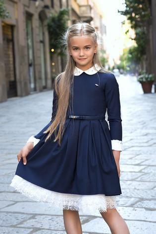 школьное синее темно платье