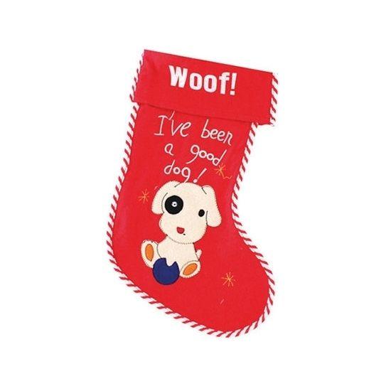 Kerstsok Woof! voor honden. Rode vilten kerstsok, speciaal voor uw hond! One size, 44 x 28,5 x 1,5 cm.