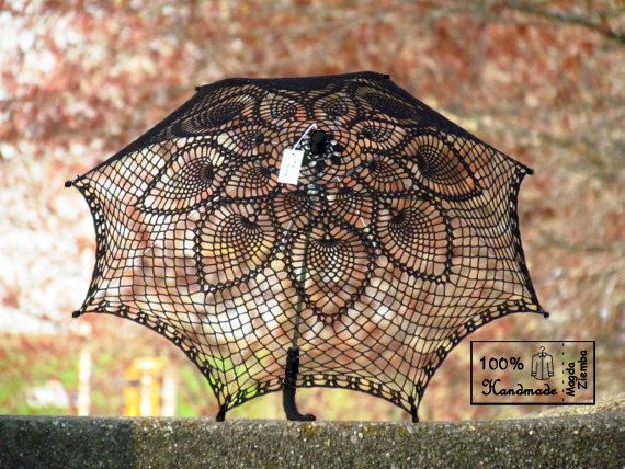 "So gorgeous!  ""30  Black on Black Crochet UMBRELLA PARASOL,Steampunk, Gothic, Victorian, Fall Wedding- Made to order. $59.00, via Etsy."""