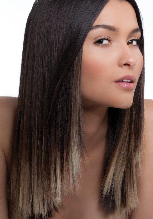 Tie and dye sur cheveux long brun