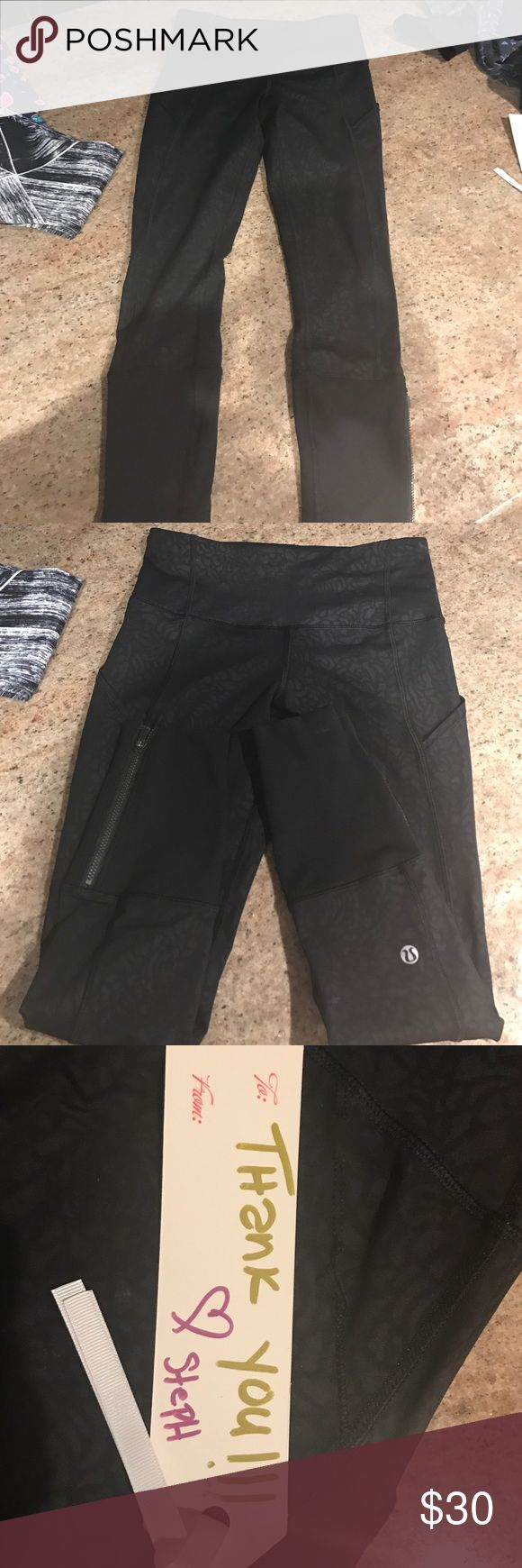 Lululemon legging Size 4 please note these are new but got hung on a zipper so a tread is torn but does not affect pants and no holes 3 picture zoom in lululemon athletica Pants Leggings