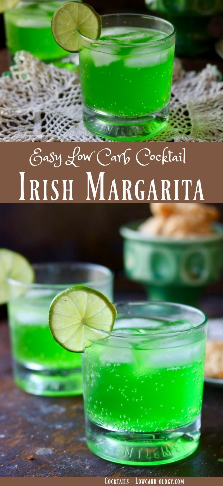 Easy, low carb margarita recipe has 0 carbs. It's the perfect green cocktail for St Patrick's day or anytime you want a refreshing tequila based drink. From Lowcarb-ology.com via @Marye at Restless Chipotle