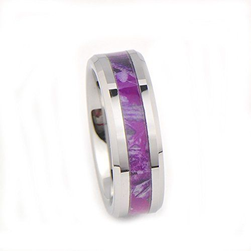 Womenu0027s Camo Hunting Camouflage Wedding Band Pink/Purple/Fuchsia 7mm  Tungsten Carbide Rings (