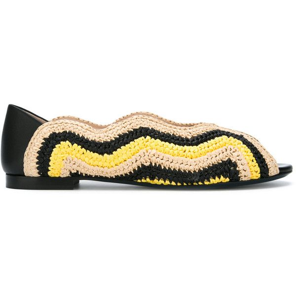 Fendi peep toe ballerina shoes ($1,000) ❤ liked on Polyvore featuring shoes, flats, yellow, striped ballet flats, slip on flats, ballet pumps, ballet flats and slip on shoes