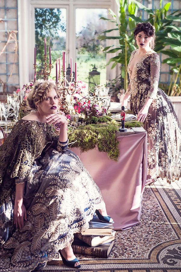 A couture tale of rich hues and sumptuous textiles bring to life Brother's Grimm's Twelve Dancing Princesses. A styled shoot evoking feelings of passion and mystery.