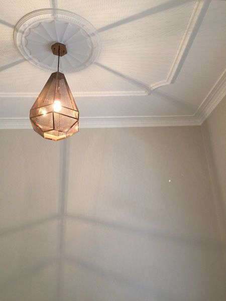 """10 Ways to Make an Old Room New Again"" #8 Install New Light Fittings. (Beautiful Pendant Light, Gorgeous Ceiling, Pressed Ceiling, Cornices)."