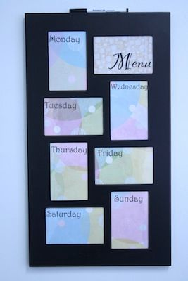 DIY Wipe Off Weekly Menu Board