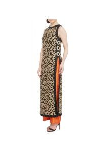 #Black & #Orange Embroidered #Georgette & Raw #Silk #Kurta With Palazzos by #Red #Couture at #Indianroots