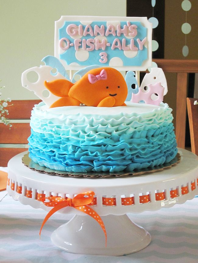 Girlie goldfish ruffle cake - fondant topper by Sugar and Stripes Co.