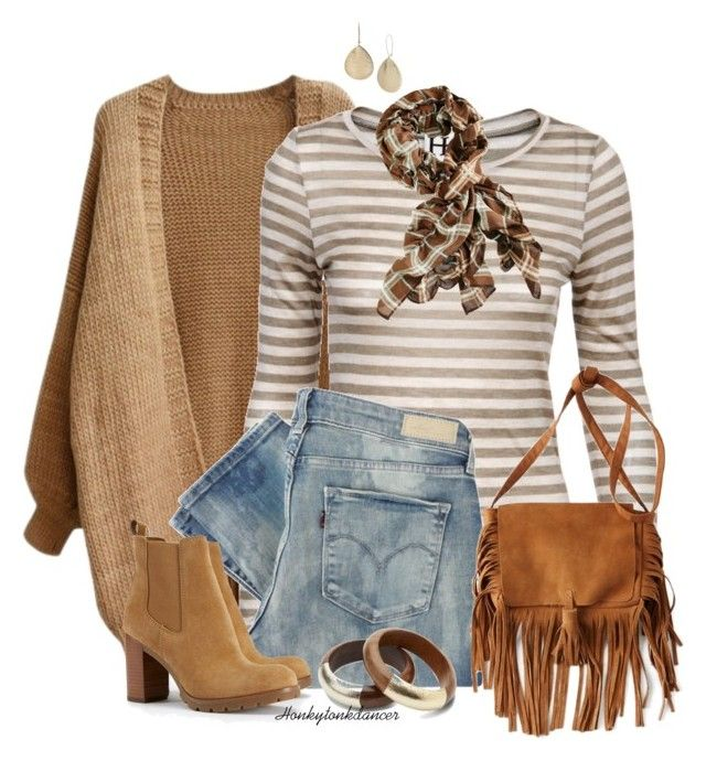 """Stripes And Camel"" by honkytonkdancer ❤ liked on Polyvore featuring Haute Hippie, Levi's, TOMS, American Eagle Outfitters, Tory Burch, women's clothing, women, female, woman and misses"