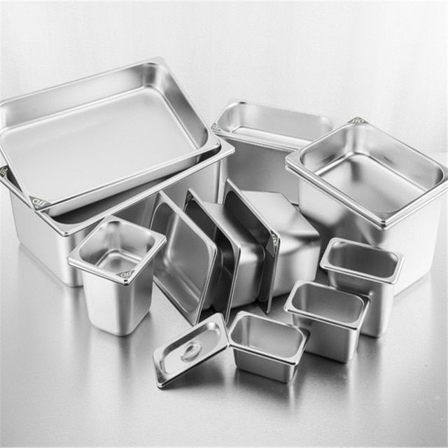 Square Pots Gn Pan Kitchen 304 Stainless Steel 1 9 1 6 1 4 1 3 Food Pan Chafing Buffet Gastronorm Pan Containers Lid 0 6mm Flatware Set Kitchen Cheap Flatware