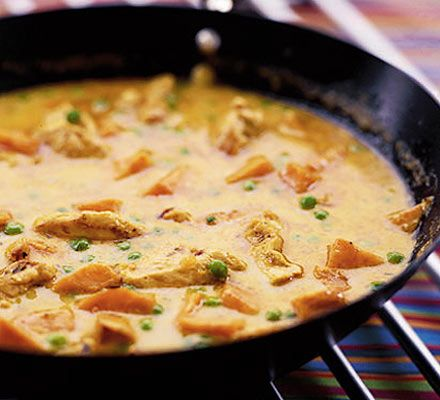 Chicken, sweet potato & coconut curry.  Five stars from BBC Good Food & one of their all-time faves.