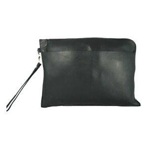 This is your basic under arm letter sized envelope portfolio. It features a front open pocket, a top zip closure, and wristlet strap.