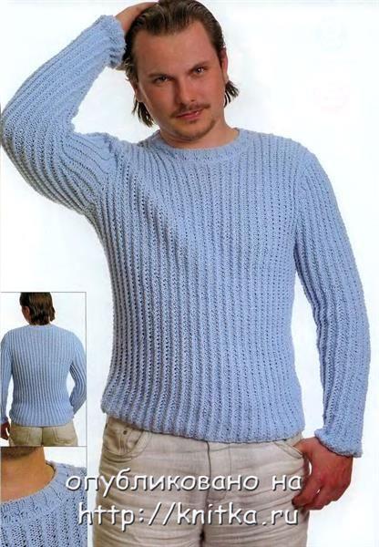 Мужской вязаный свитер модель