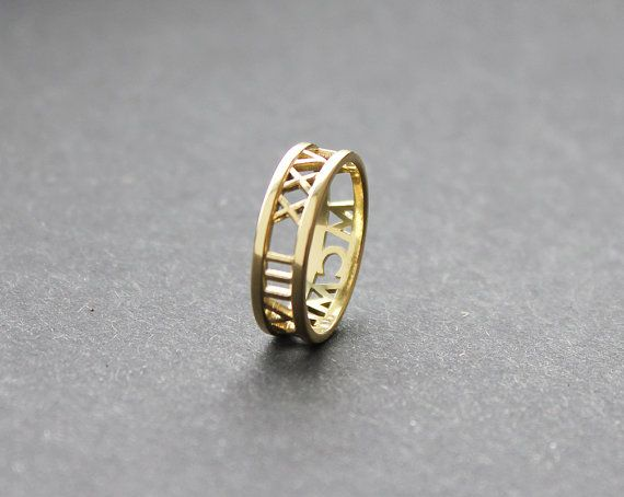 ON SALE 14k Gold Wedding Band Roman Numerals Ring by capucinne