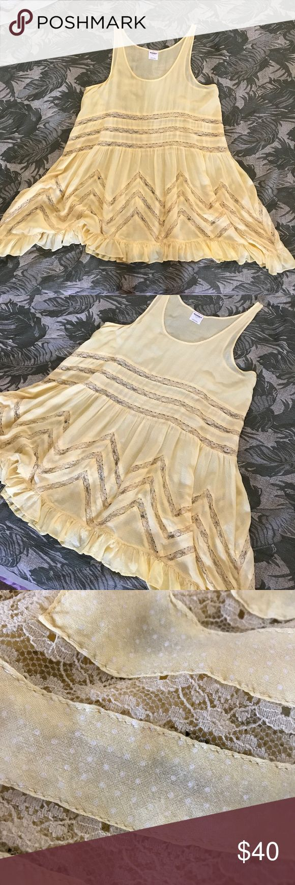 Free People Yellow Trapeze Slip Dress Mini Polka Free People Yellow Trapeze Slip Dress Mini Polka Size Small great essential! Free People Dresses Mini