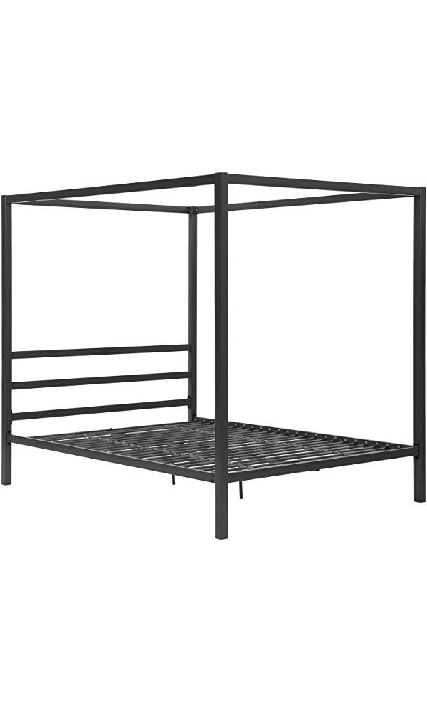 DHP Modern Metal Framed Industrial Canopy Bed Frame, Queen, Gray Best Price