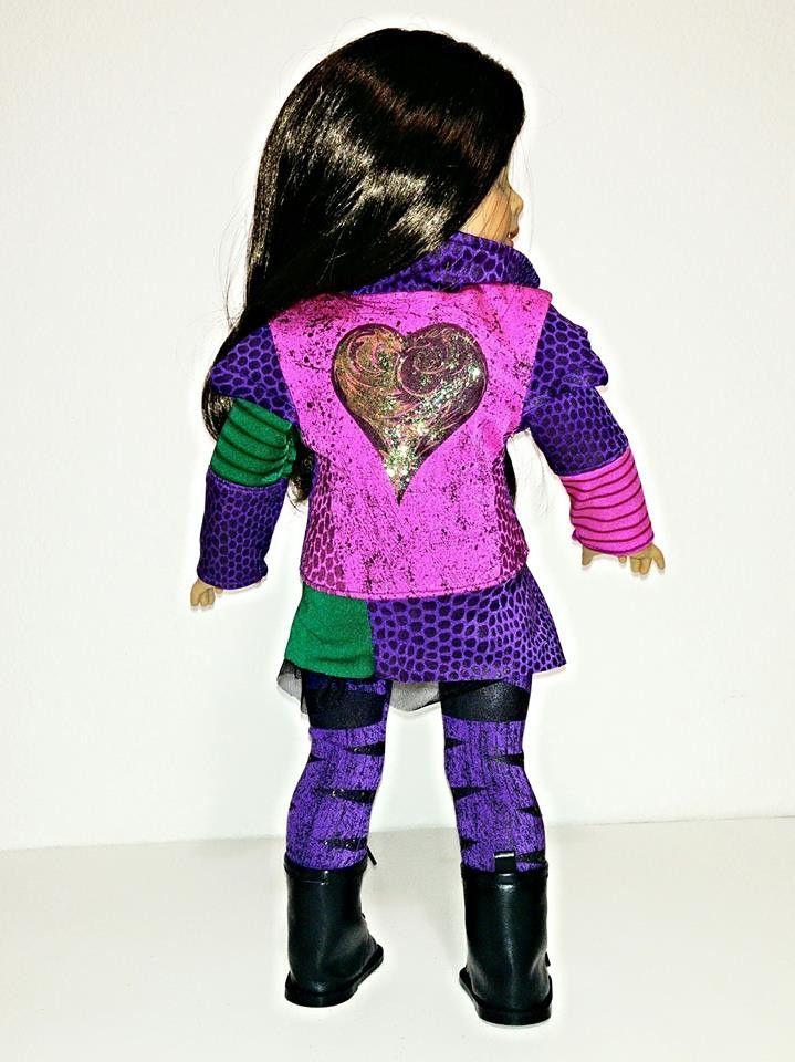 Turn your doll into Disney Descendants Mal with this very detailed outfit made with printed fabric. This listing is for the jacket, legging and gold blouse The doll and other shoes are not included. T