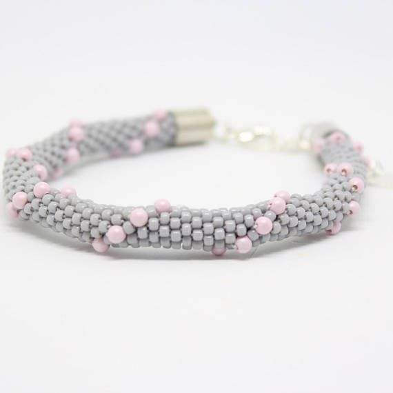 Grey bracelet  with Swarovski pearls