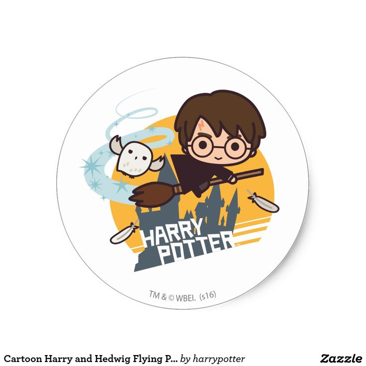 Cartoon Harry and Hedwig Flying Past Hogwarts #sticker