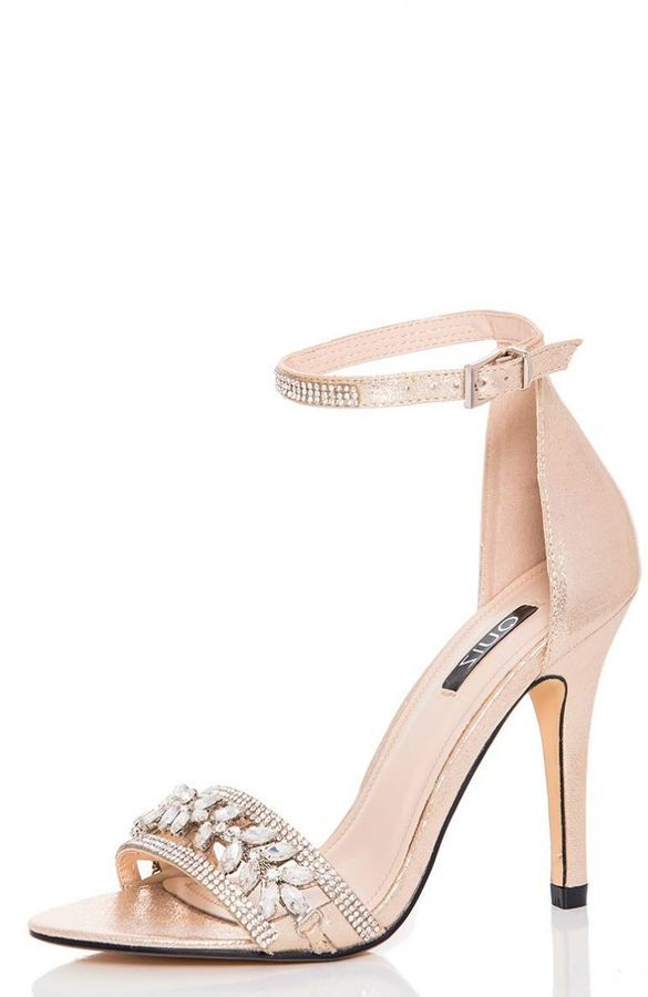 fd47a38dbf0f3 Gold Jewel Embellished Barely There Wedding Heels. Shoes for the Bride or  bridesmaids.