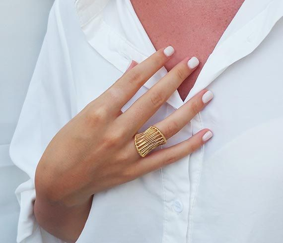 Gold statement ring Big rings Vintage rings by HLcollection