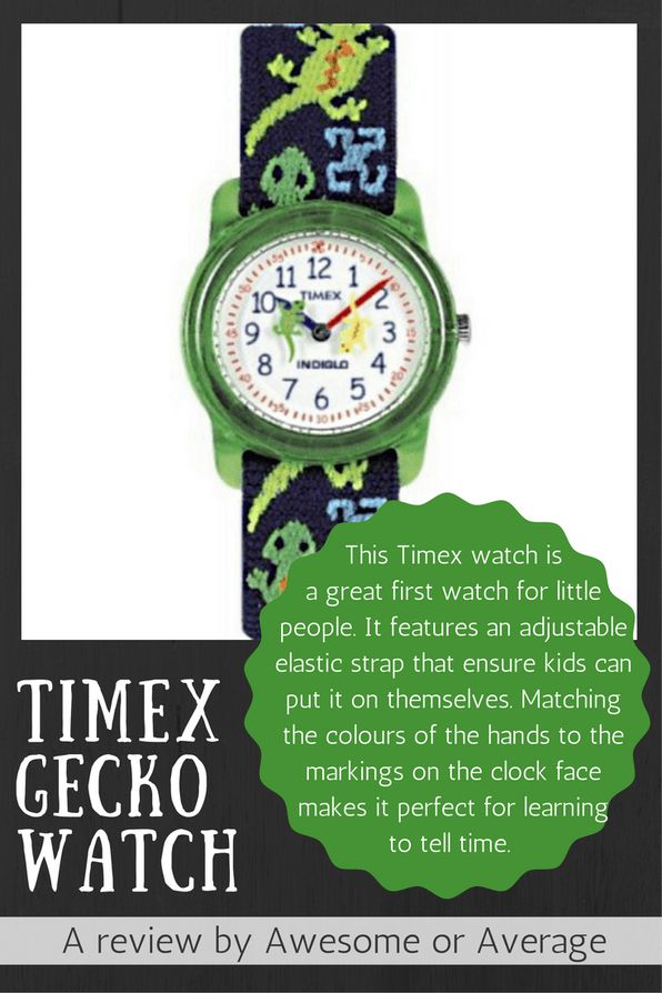 This Timex watch is  a great first watch for little  people. It features an adjustable  elastic strap that ensure kids can put it on themselves. Matching the colours of the hands to the markings on the clock face makes it perfect for learning  to tell time. Buy now from Amazon: http://amzn.to/2dIzy9j (affiliate link)