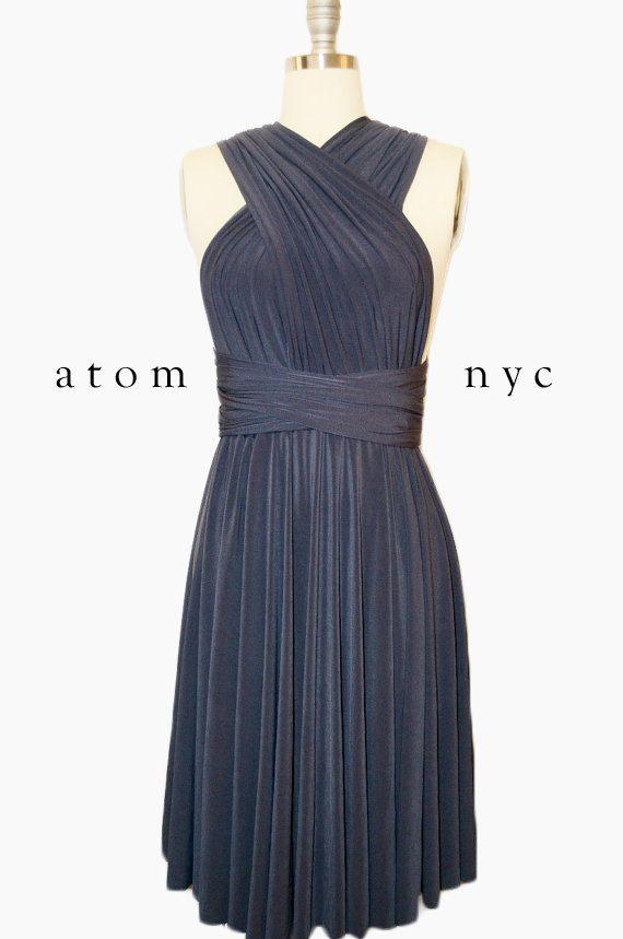 Houtskool grijs korte Infinity jurk converteerbare door AtomAttire