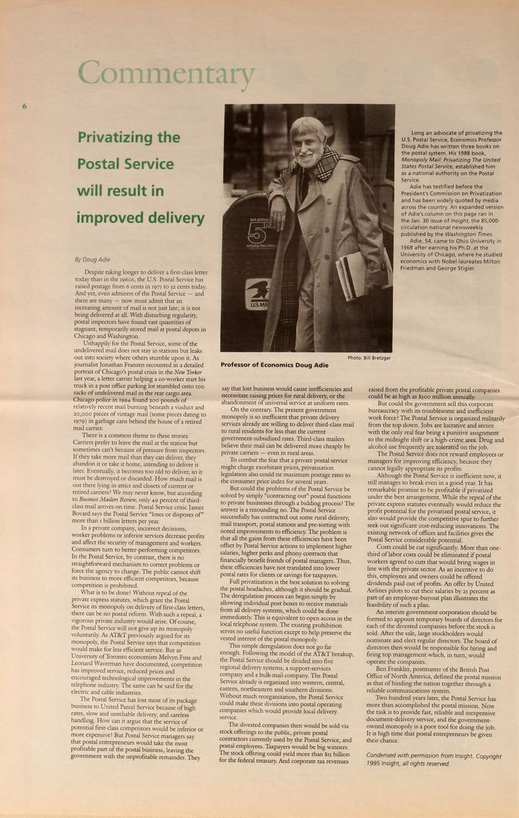"""Ohio University Today, Spring 1995. """"Privatizing the  Postal Service will result in  improved delivery."""" """"Despite taking longer to deliver a first-class letter  today than in the 1960s, the U.S. Postal Service has  raised postage from 6 cents in 1971 to 52 cents today..."""" :: Ohio University Archives"""