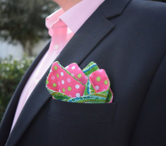 Green Pocket Square  Mint Pocket Square  Pink by AnchorsBelow