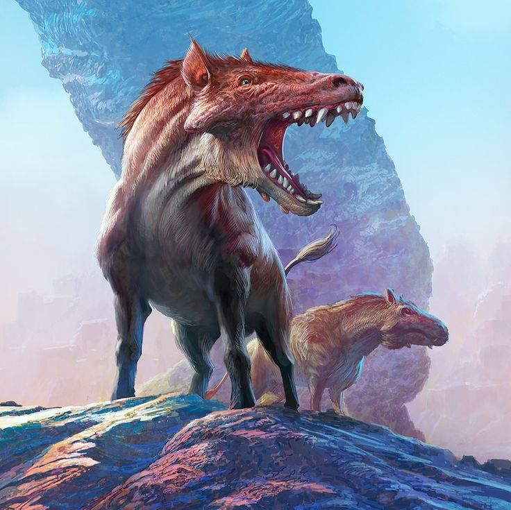 Entelodont, ancestor of the pigs. Not one to take bacon from...