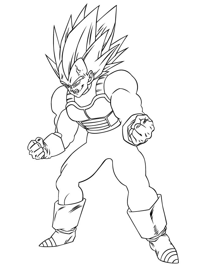 cool dragon ball z coloring pages | Dragon Ball Z Super Vegeta Coloring Page | HM Coloring ...