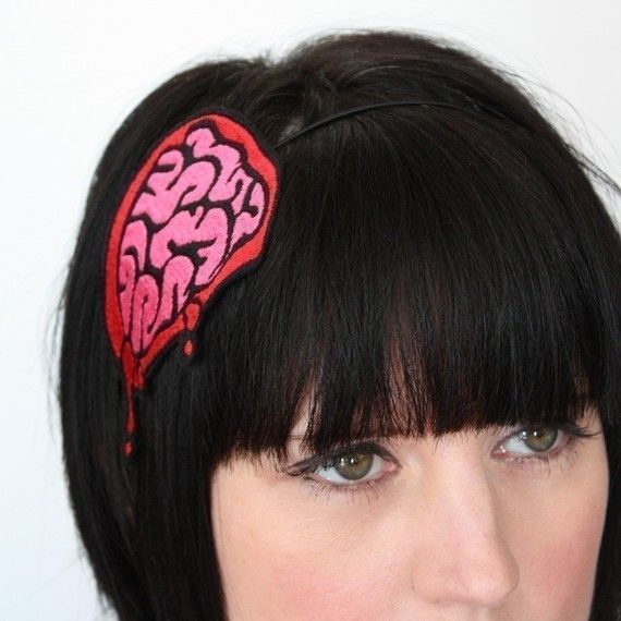 Brains Headband Exposed Zombie Brains Hot Pink and by JanineBasil, £15.00