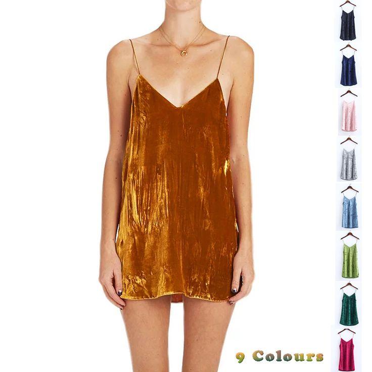New Arrival Sexy Profundo Decote Em V Spaghetti Strap Clube Vestido Vestidos Soltos Vestido de festa Club Wear 9 Cores Deslizamento de Veludo vestidos em Vestidos de Das mulheres Roupas & Acessórios no AliExpress.com | Alibaba Group