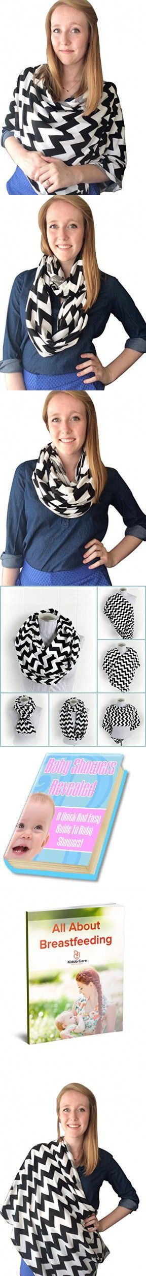 Kiddo Care Nursing Cover Infinity Nursing Scarf for Breastfeeding (Black White Chevron)