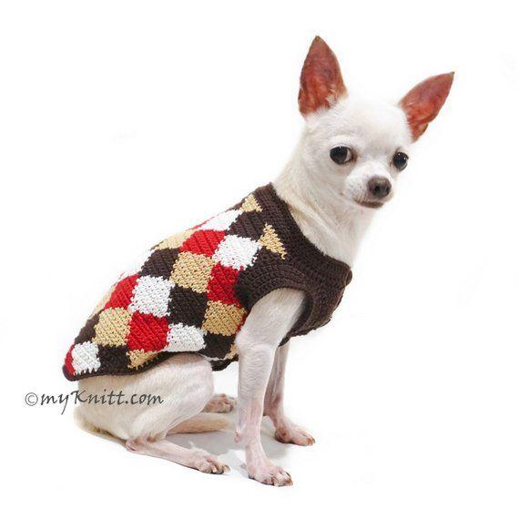 Retro Dog Clothes Diamond Knitting Pattern Dog Sweater Chihuahua