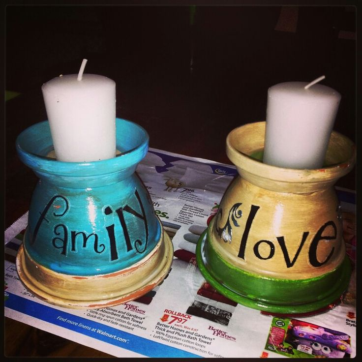 craft project ideas with clay pots | Candle holders I made :) | Clay pot crafts