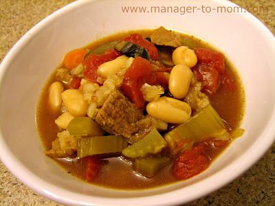 Manager to Mom: Beef Barley Soup with Mushrooms and White Beans {Recipe}