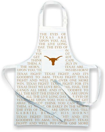 """The Eyes of Texas are upon you!  And you won't forget it with this fabulous chef's apron. The apron is printed the Longhorn logo, as well the lyrics to the classic song """"Eyes of Texas"""" and the """"Texas Fight"""" song."""