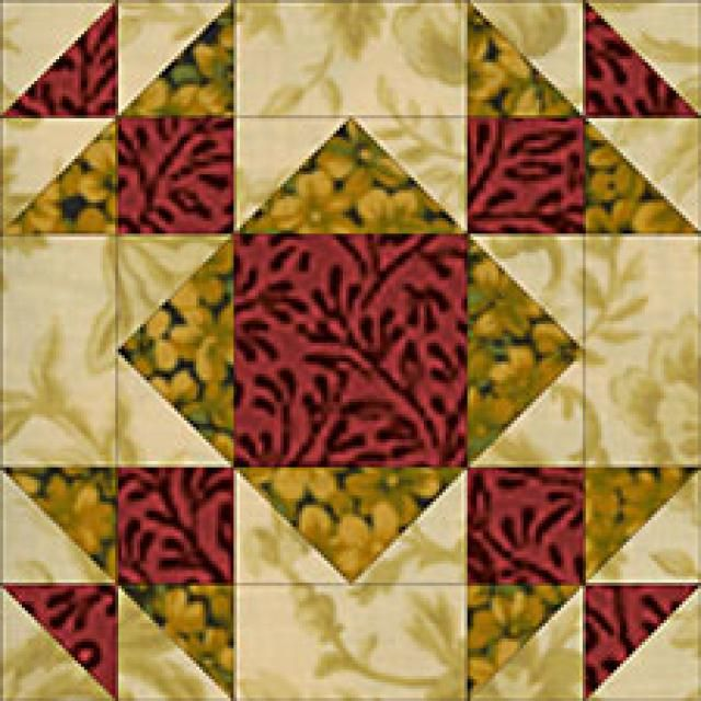 "Summer Winds Quilt Block Pattern - © Janet Wickell-Make a 24"" Square Summer Winds Quilt Block...The quilt block pattern uses quick piecing techniques: rotary cut squares and rectangles, sandwiched half-square triangle units and quick flying geese."