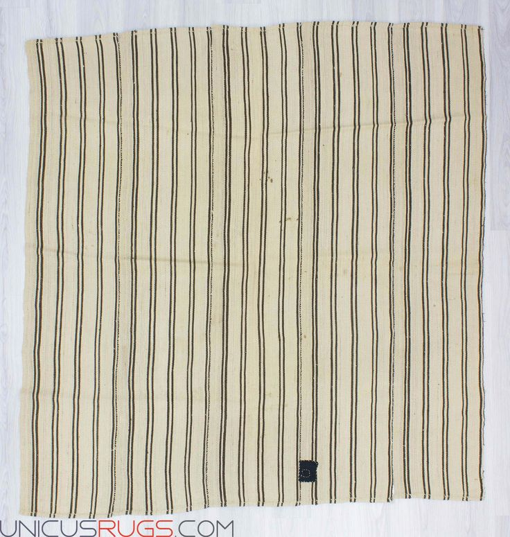 """Vintage handwoven striped modern kilim rug from Malatya region of Turkey. In good condition. Approximately 50-60 years old Width: 6' 4"""" - Length: 6' 6"""" Striped Kilims"""