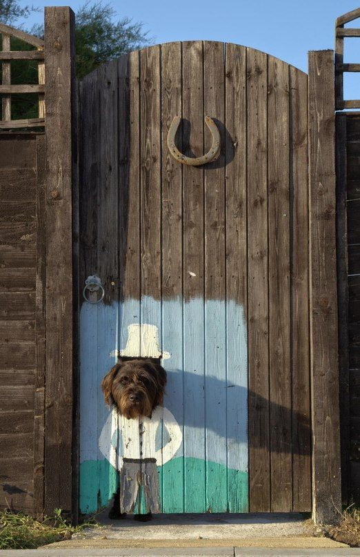 Whimsical gate door with dog cut-out