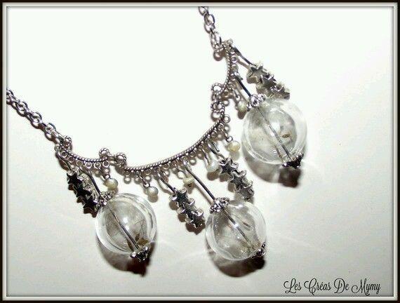 Collier souffle d hiver collier créateur   perle bulle de verre soufflé