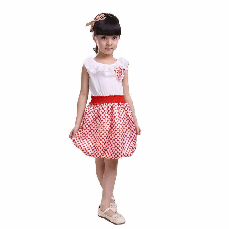 Little girl dress for party birthday 2017 summer flower toddler girl little dresses red Polka Dot kids little girl clothes dress