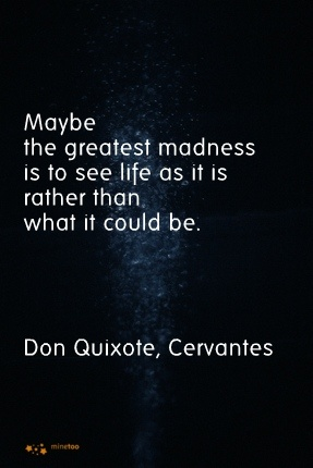 Maybe the greatest madness is to see life as it is rather than what it could be.  Don Quixote, Cervantes quote