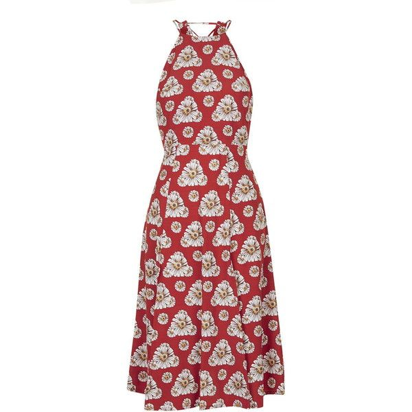 TopShop Daisy Slip Dress ($65) ❤ liked on Polyvore featuring dresses, red, viscose dress, daisy-print dress, red dress, lace up front dress and front slit dress