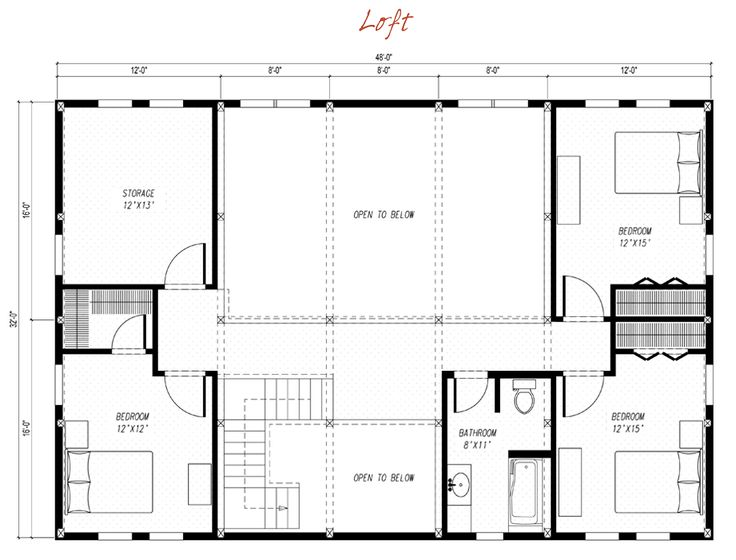Modern loft floor plans for Free barn plans with loft