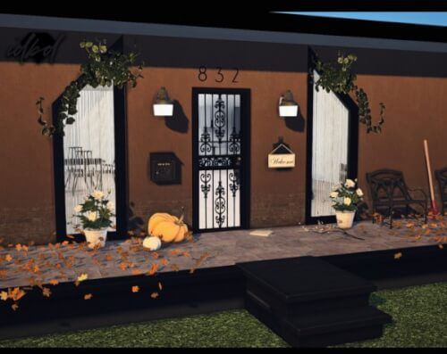 Outdoor Security Lights and Spanish Lace Steel Doors for The Sims 4